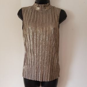 Shimmering Gold & Silver Pleated Turtle Neck Top